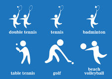 Double tennis, tennis, badminton, table tennis, golf, beach volleyball sport icons Royalty Free Stock Photo