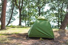 Double tent in the forest stock image