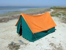 Double tent on a gulf. In the afternoon Royalty Free Stock Image