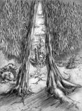 Double thee. Tree divided in two and a passage to magical world. Pencil drawing Stock Photography