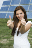 Double thumbs up for solar vertical Royalty Free Stock Photo