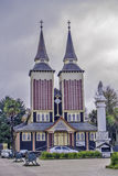 Double tower church. Panguipulli, June 2013. Double tower church of Panguipulli in Chilean Patagonia Stock Photo
