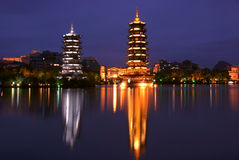 Double towers in guilin nightscape Royalty Free Stock Photography