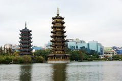 Double towers in park Royalty Free Stock Image