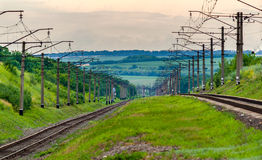 Double-track electrified (3 kV DC) railway Royalty Free Stock Images