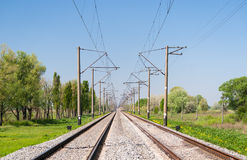 Double-track electrified railway line stock photography