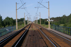 Double-track rails. Track rails - Poland, Warsaw-Wyszkow royalty free stock images