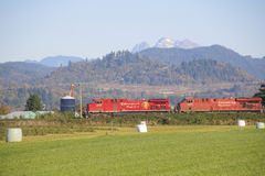 Double Train Engine Stock Photo