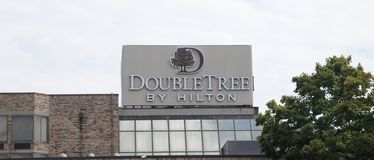 Double Tree Hotel by Hilton Sign Stock Images
