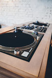 Double turntable hipster style hi fi system. Double turntable hipster style nice brown color Royalty Free Stock Photo