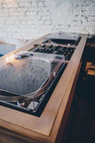 Double turntable hipster style hi fi system. Double turntable hipster style nice brown color Royalty Free Stock Image