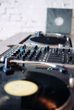 Double turntable hipster style hi fi system. Double turntable hipster style nice brown color Royalty Free Stock Photos