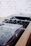 Double turntable hipster style hifi system Stock Photos