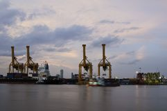 Double Twin Harbour Crane Royalty Free Stock Photos