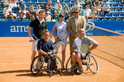 Double VIP players on Porsche Open 2008. Players (from left): Mariusz Czerkawski, Boguslaw Glaz, Agata Konarska, Albin Batyski. Director of Porsche Open 2008 royalty free stock photography