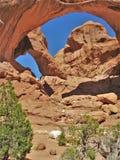 Double voûte au parc national de voûtes en Utah Images libres de droits