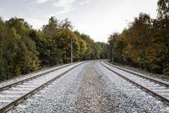 Double voie ferroviaire photo libre de droits