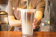 Double wall glass of iced coffee latte Royalty Free Stock Photo