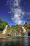 Double Waterfall with rainbow. Waterfall Chute de la Lily, Lac Itasy area, Ampefy, Madagascar Royalty Free Stock Photography