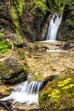 Double waterfalls on a stream in forest. royalty free stock photo