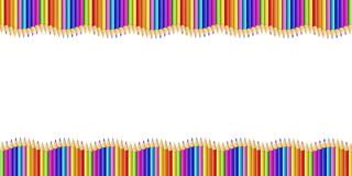 Double Wavy Border Made of Colored Wooden Pencils. Row Isolated on White Background. Back to School Framework Bordering or Photo Frame With Empty Copy Space for vector illustration