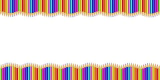 Double wavy border made of colored wooden pencils row isolated on white background. Back to school framework bordering template concept or photo frame with vector illustration