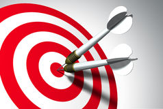 Double winner. Two arrows on red target - business concept royalty free illustration