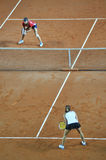Double woman tennis match Royalty Free Stock Photography