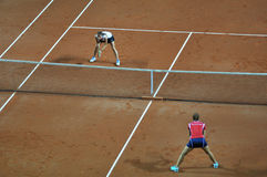 Double woman tennis match Stock Image