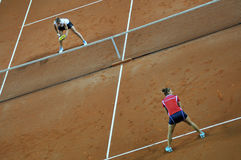 Double woman tennis match Royalty Free Stock Photo