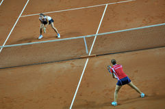 Double woman tennis match Royalty Free Stock Image