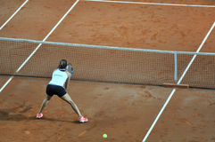 Double woman tennis match Stock Photos