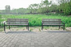 Double Wooden benches Stock Photo
