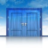 Double wooden door closed in sky background 3D Stock Photos