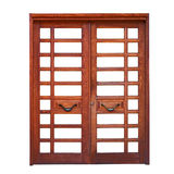 Double wooden door isolated on white Stock Photo