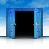 Double wooden door opened out of sky background 3D Stock Photo