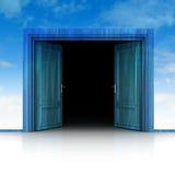 Double wooden door opened in sky background 3D Royalty Free Stock Photo