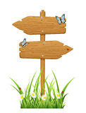 Double wooden sign Stock Images