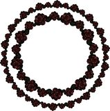 A double wreath of burgundy roses. Vector. royalty free illustration