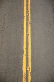 Double Yellow. Lines from Above Royalty Free Stock Photo