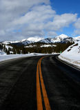Double Yellow. Galena Summit, hwy 75 between Stanley and Ketchum Idaho, Winter Royalty Free Stock Image