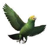 Double Yellow-Headed Amazon Parrot. 3D render depicting a double yellow-headed amazon parrot in flight Royalty Free Stock Photography