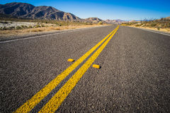 Double Yellow Line on Highway Royalty Free Stock Photo