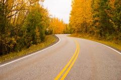 Double Yellow Lines Fall Highway Alaska Highway Transportation Stock Photo