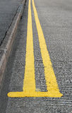 Double yellow lines parking Royalty Free Stock Photo