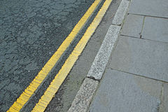 Double Yellow Lines Royalty Free Stock Photography