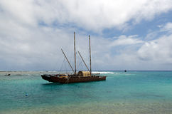 Doubled hulled vaka in Rarotonga - Cook Islands. RAROTONGA - SEP 16:Doubled hulled vaka in Rarotonga on Sep 16 2013.The first sailing canoes emerged in ancient Royalty Free Stock Photography