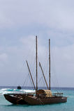Doubled hulled vaka in Rarotonga - Cook Islands Royalty Free Stock Image
