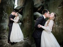 Doubled picture of newlyweds kissing among the rocks Stock Images