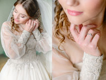 Doubled picture of old-fashioned bride with sweet pink lips.  Royalty Free Stock Image